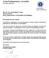 APA Secretary General congratulates the new Secretary General of the House of Representatives of the Republic of the Philippines