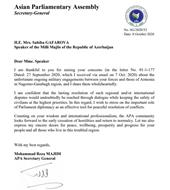APA Secretary General's Reply to the Letter of Parliament Speaker of the Republic of Azerbaijan