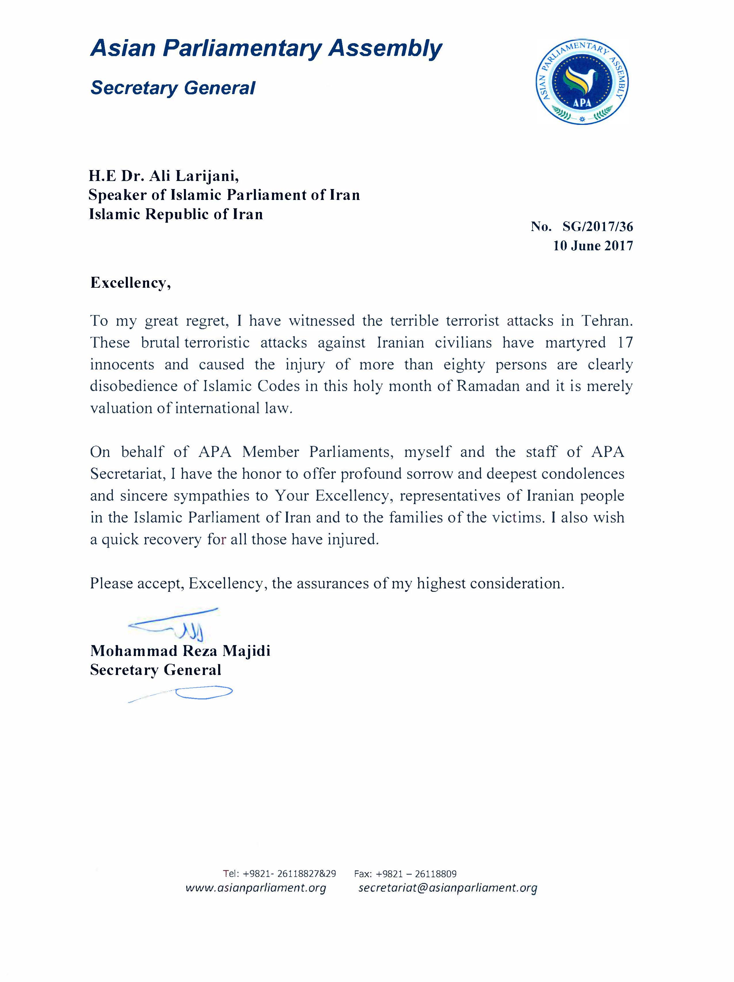The Message of condolence by APA Secretary General