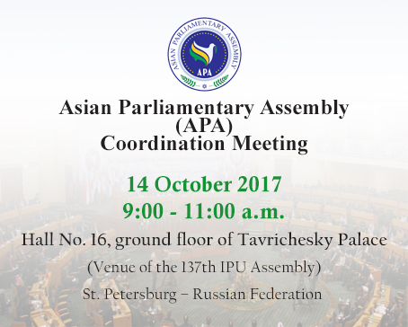APA Coordination and Cooperation meeting in the sideline of 137th IPU Assembly in St. Petersburg – Russian Federation