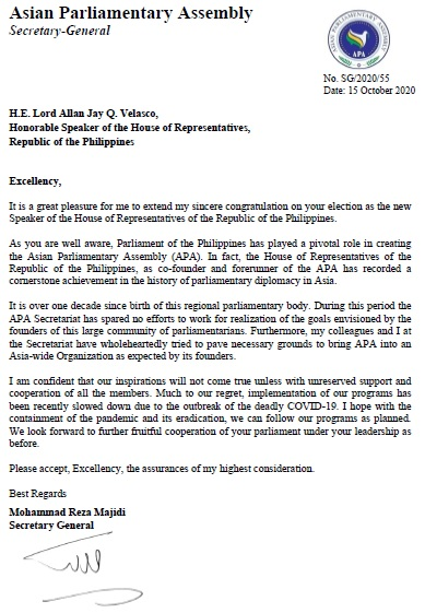 APA Secretary General congratulates the New Speaker of the House of Representatives of the Republic of the Philippines